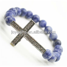 Diamante cruz liga amizade gemstone pulseira de sosalite
