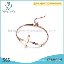 Unique rose gold bracelet,cross bracelet,ladies stainless steel bracelet