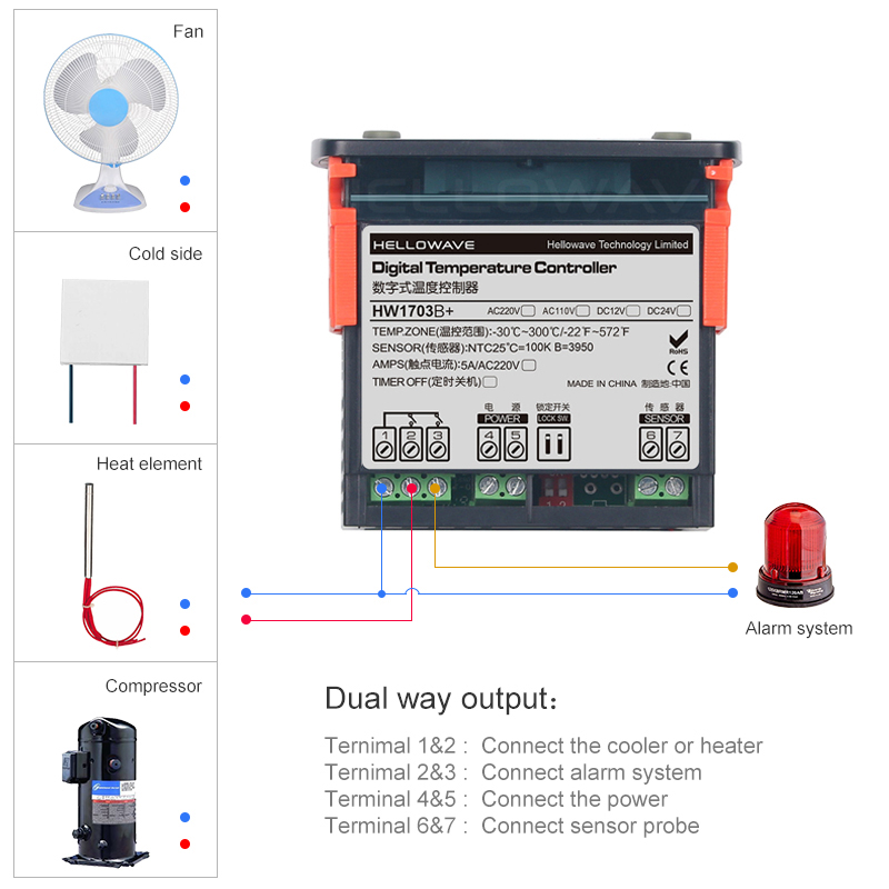 HW-1703B+ Digital Temperature Controller for 300C Degrees