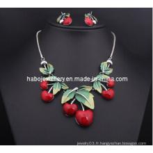 Ensemble de collier de cerise de résine / ensemble de bijoux de mode (XJW13207)