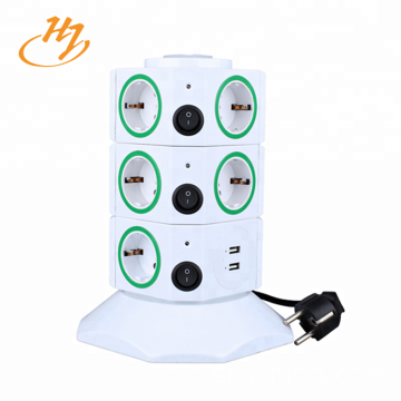100V-240V 2-USB 3-Layers Tower Extension Socket