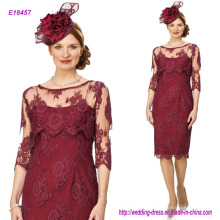 New Vintage Burgundy Lace Mother′s Dresses Elegant Scoop Half Long Sleeves with Plus Size Wedding Party Gowns