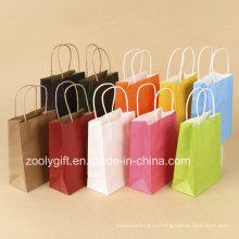 Оптовые дешевые сумки для пересылки бумаги крафт-бумаги с витой ручкой