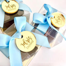 Custom Made Round Gold Acrylic Mirror Name Tags for Baby Personalized Laser Cut Name Logo