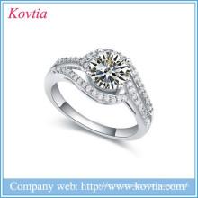 Anel de design de silicone anel de casamento esterlina sliver anel cz anel de guardanapo de diamante