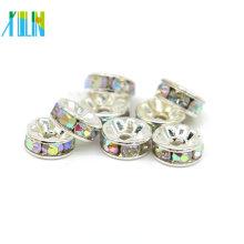Jóias Fazendo Suprimentos Todo Tamanho Grande Buraco Strass Rondelle Prata Spacer Beads Para Venda