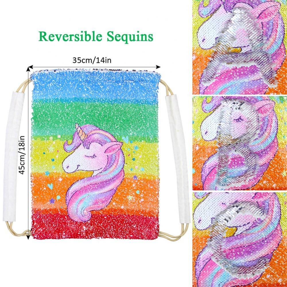 Unicorn Sequin Drawstring Bag 3