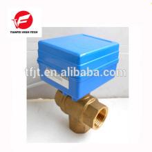 CWX-1.0B vertical 3 way T-type DN15 brass female-female BSP DC12V CR01 motorized valve for fan coil unit