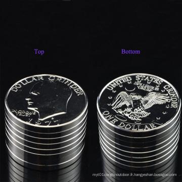 Space Metal Big USA Argent Dollar Coin Grinder