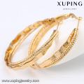 91658 Xuping 2016 banhado a ouro Forma redonda artesanal Brinco sem pedra