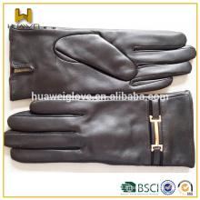 Fashion Wearing Dress Leather GANTS BSCI Gants en cuir certifiés pour femmes avec ceinture