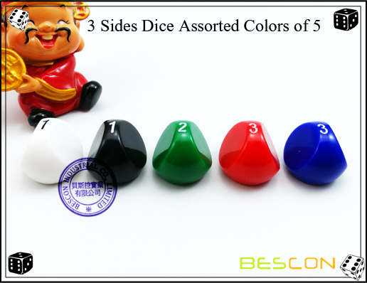 3 Sides Dice Assorted Colors of 5-3