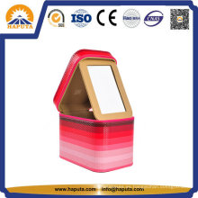 Estuche de cuero cosmético de belleza roja con Morror (HB-6600)