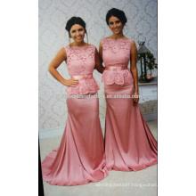 New Design Elegant Cheap Cap Sleeve Peach Patterns Mermaid Lace weddings Bridesmaid Dresses Long CWFb1832