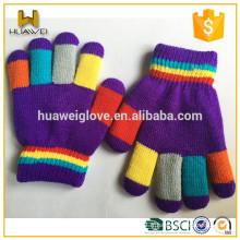 Gants tricotés violets aux couleurs vives, gants tricotés acryliques 100% acryliques