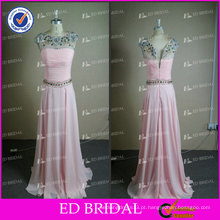 ED Bridal Chiffon Real Photo Crystal Beaded Pavimento Comprimento Prom Dresses Prom Dress 2017
