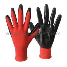 Gant en tricot en polyester rouge 13G avec trempette en nitrure noir