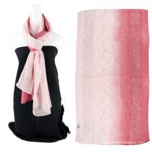 Bufanda de seda lisa de color emboidery de dos tonos con lentejuelas