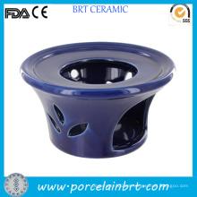 Calentador de tetera con portavelas azul de cerámica