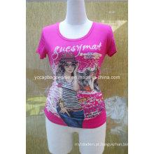 Sublimação Impressão Rhinestone T Shirt, Ladies T Shirt