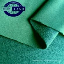 Calças de outono esportes casaco pano 50D 32Gauge tight knit interlock colado com 75D144F DTY microfibra tecido de lã polar