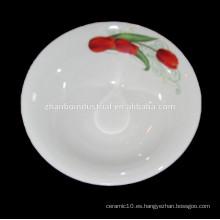 Con la flor de la calcomanía de la ronda de cerámica plato de sopa