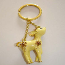 Liga de alumínio Lexquisite Lovely Fawn chaveiro para presente de aniversário de hardware dourado