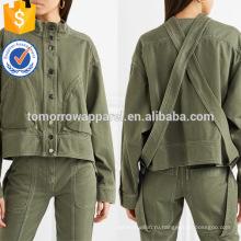 Горячая Продажа зеленый высокая шея с длинным рукавом хлопок Весна куртка с кнопкой Производство Оптовая продажа женской одежды (TA0004J)