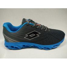 Men′s Grey Resilient Mesh Sports Shoes Footwear
