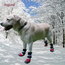Refletindo inverno impermeável morno cão grande antiderrapante neve botas sapatos