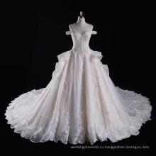 с плеча бисером бальное свадебные платья