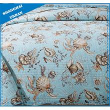 Juego de cama acolchado de poliéster con estampado de animales marinos