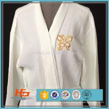 Wholesale Polyester Cotton Waffle weave Bathrobe Kimono Collar Spa Robe