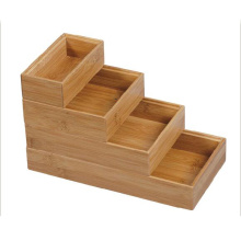Stair Shape Bamboo Stationery Organizer with 4 Compartments