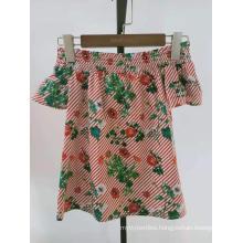 cotton printed floral poplin smocking neck girls top