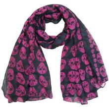 Senhora moda crânio impresso poliéster voile lenço de seda primavera (yky4225)