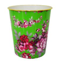 Пластиковый зеленый открытый топ Цветочный дизайн Отпечатанный мусорный ящик (B06-821-2)