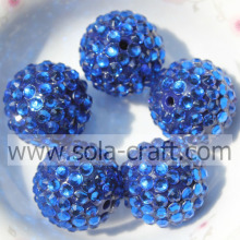 Blue Resin Rhinestone Beads 18*20MM Solid Small Spacers For DIY Necklace
