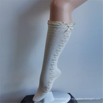 Chaussettes hautes princesse brodées en nylon blanc en dentelle de rêve