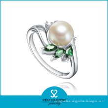 New Designed Fashion Silver Pearl Rings with Factory Price (R-0338)