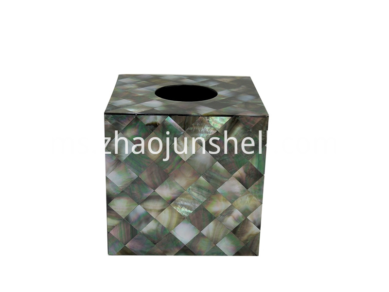 black mother of pearl tissue box