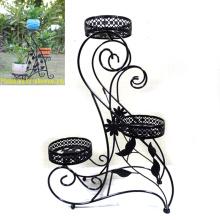 Garden Decoration Decorative Ground Black Metal 3 Flowerpot Rack