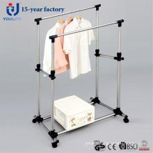 Cintre de séchage des vêtements Double-tige solide en acier inoxydable
