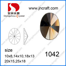 Machine Cut Wholesale Rivoli Oval Flat Back Stone with Two Holes