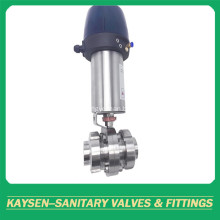 Hygienic Intelligent Pneumatic 3PCS Flanged Butterfly Valve
