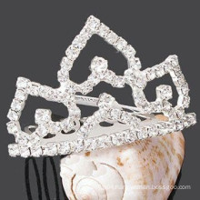fancy hair accessories for women crystal tiara shape metal clips