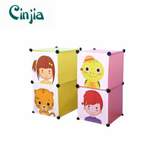 2cubes Simple Bedside Table Plastic Storage Cabinet with Cartoon Doors
