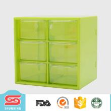 2017 novo armazenamento de caixas de plástico multiuso personalizado com 6 grade