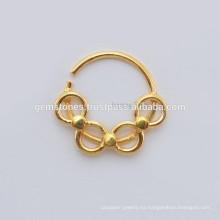 Venta al por mayor Septum Joyería Proveedores, hecho a mano de oro plateado 925 Sterling Silver Septum nariz anillo