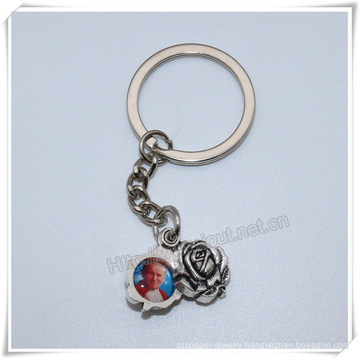 Small Religious Metal Rose with Images Key Chain, Catholic Rose Key Holder (IO-ck111)
